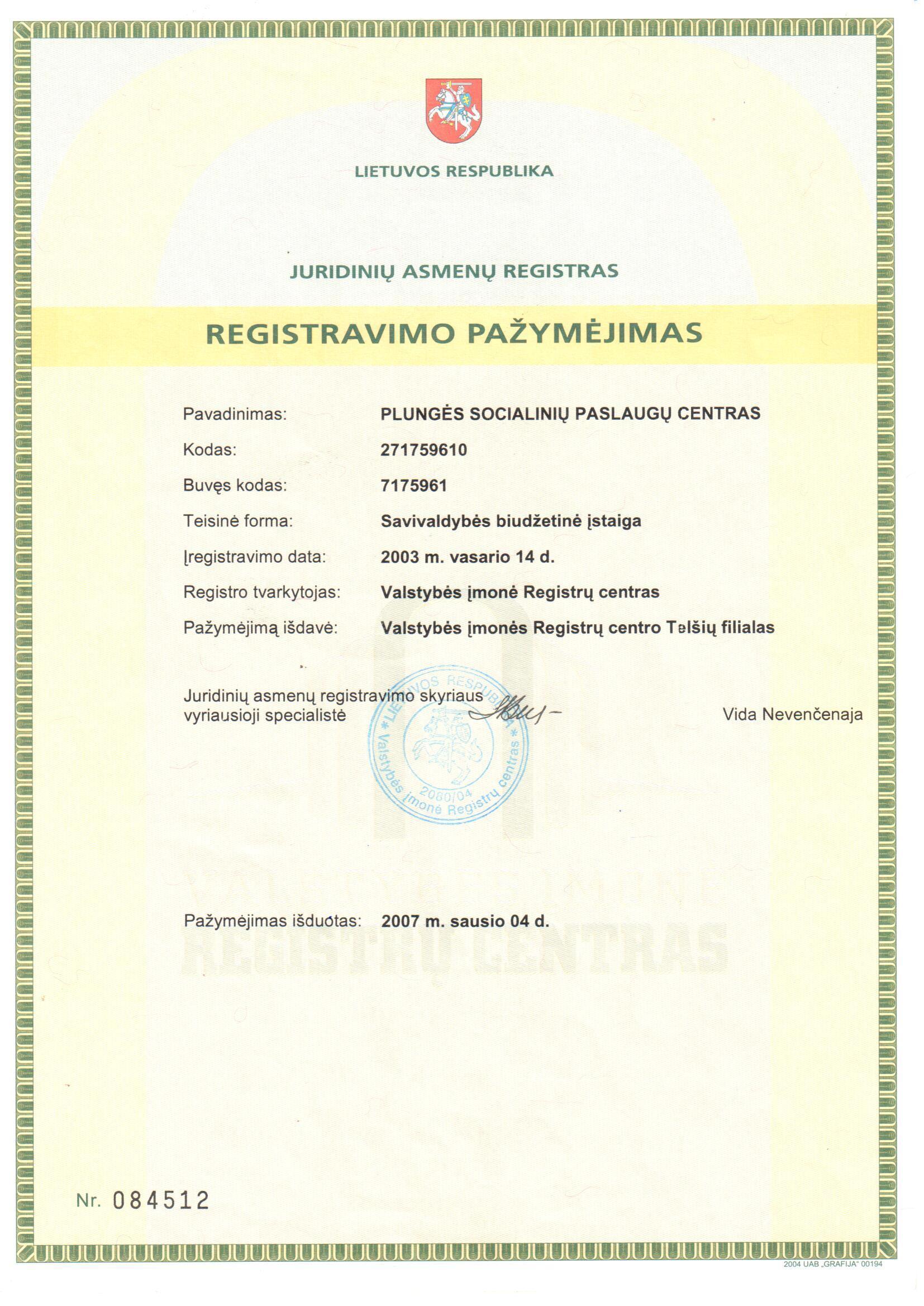Registravimo pažymėjimas